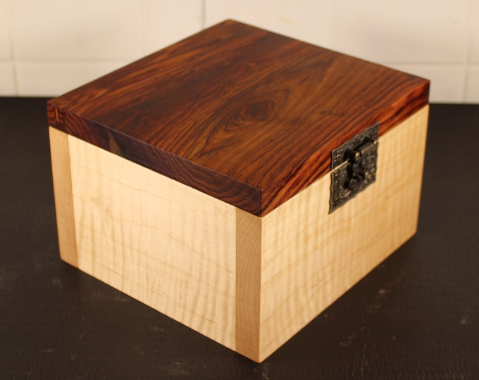 handcrafted tiger maple and rosewood keepsake box