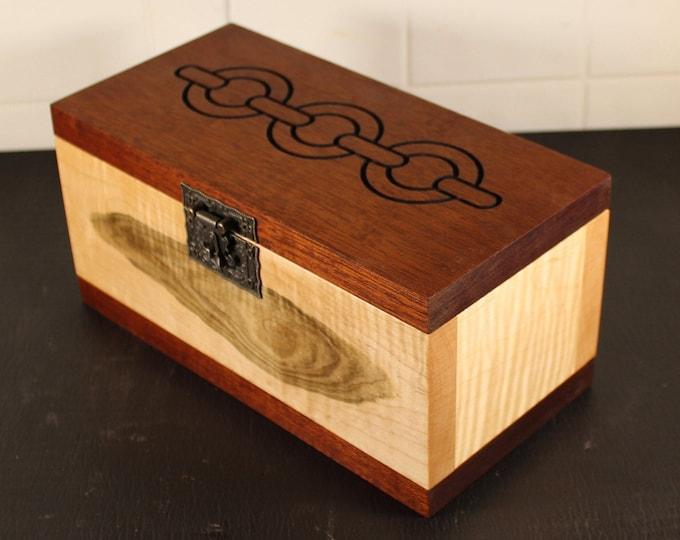 Tiger maple and mahogany keepsake box