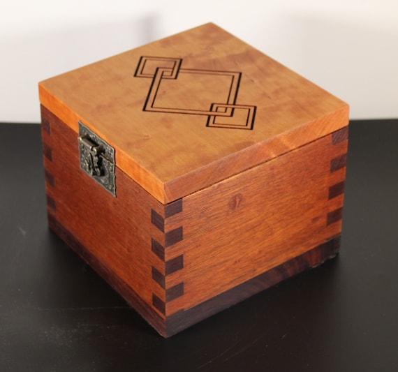 handcrafted mahogany and cherry keepsake box
