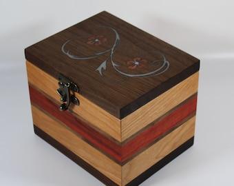 2103 Handcrafted cherry and black walnut keepsake box
