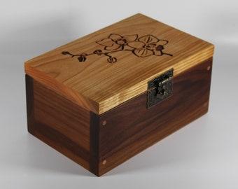 2126 Handcrafted black walnut and cherry keepsake box