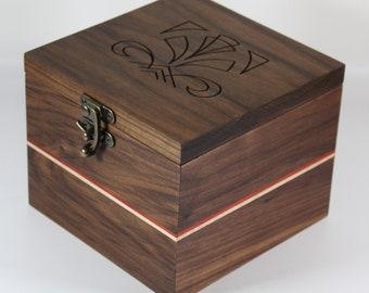 2145 Handcrafted black walnut keepsake box