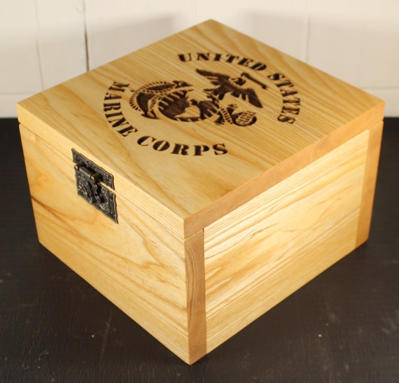 Handcrafted USMC keepsake box