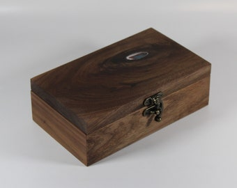 2113 Handcrafted black walnut keepsake box with resin highlighted lid