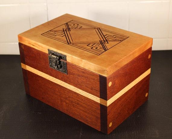 hand made mahogany and cherry keepsake box with insert