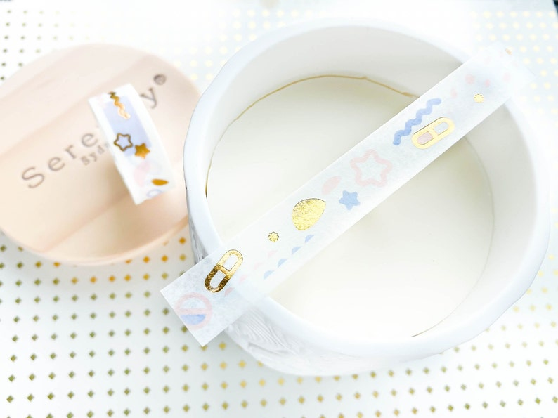 Cute Star Gold Foil Washi Tape 15mm Bullet Journal Tapes Holiday Washi Tape