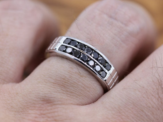 Forever Brilliance Men Black Diamond Ring 14k White Gold Etsy