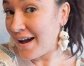 Antique White Bear Earrings
