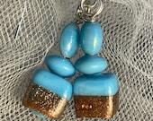 Cyan Gold Foiled Drop earrings