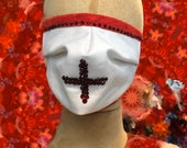Red Cross Crystalized face mask