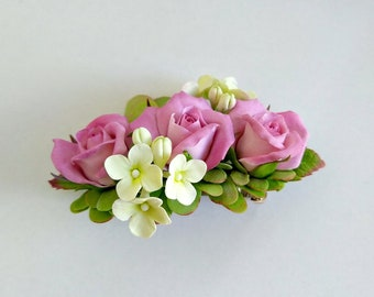 Floral  automatic hair clip Hair clip with roses small delicate flowers and green leaves Spring hairstyle Flowers in your hair