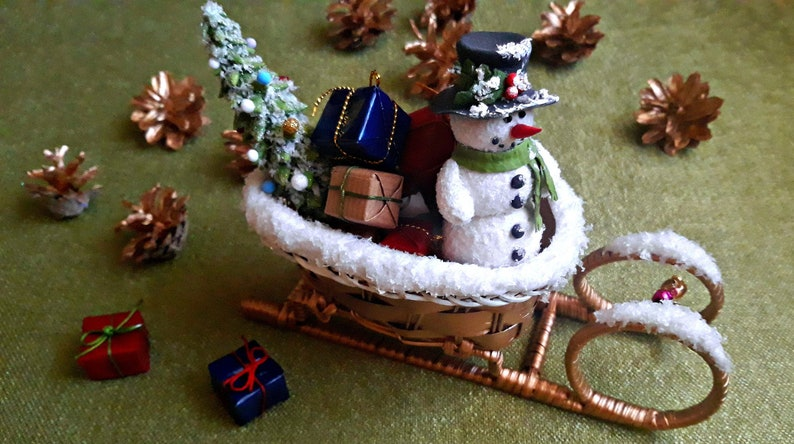 Snowman In Sleigh Xmas Sleigh Sleigh With A Xmas Tree Sleigh With Christmas Presents Polymer Clay Xmas Gifts Xmas Home Decor