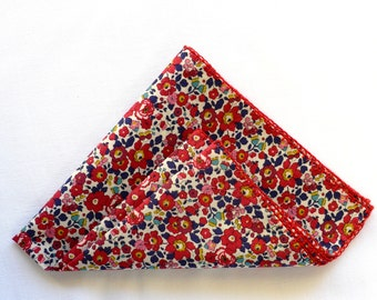 Handkerchief Liberty of London Fabric Red Floral