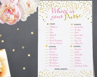 Whats In Your Purse Baby Shower Game - Pink and Gold Printable Game - Printable Baby Shower Game - Instant Download - BSG2