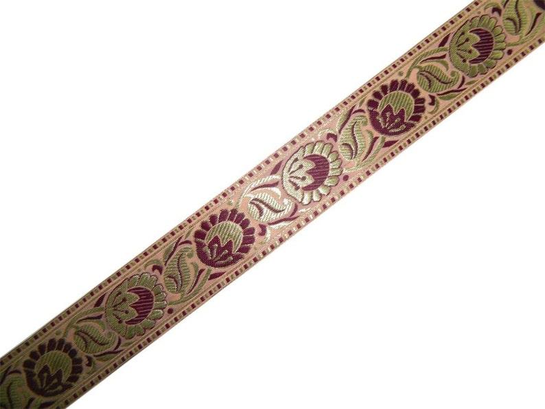 "Brown Jacquard Trim Sari Border Ribbon Craft sewing Supply 3.5/"" Wide By The Yard"