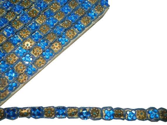 0,5» nouvelle large dentelle de travail Jacquard bleu garniture acrylique Sequin Craft 4.5 verges St 2188