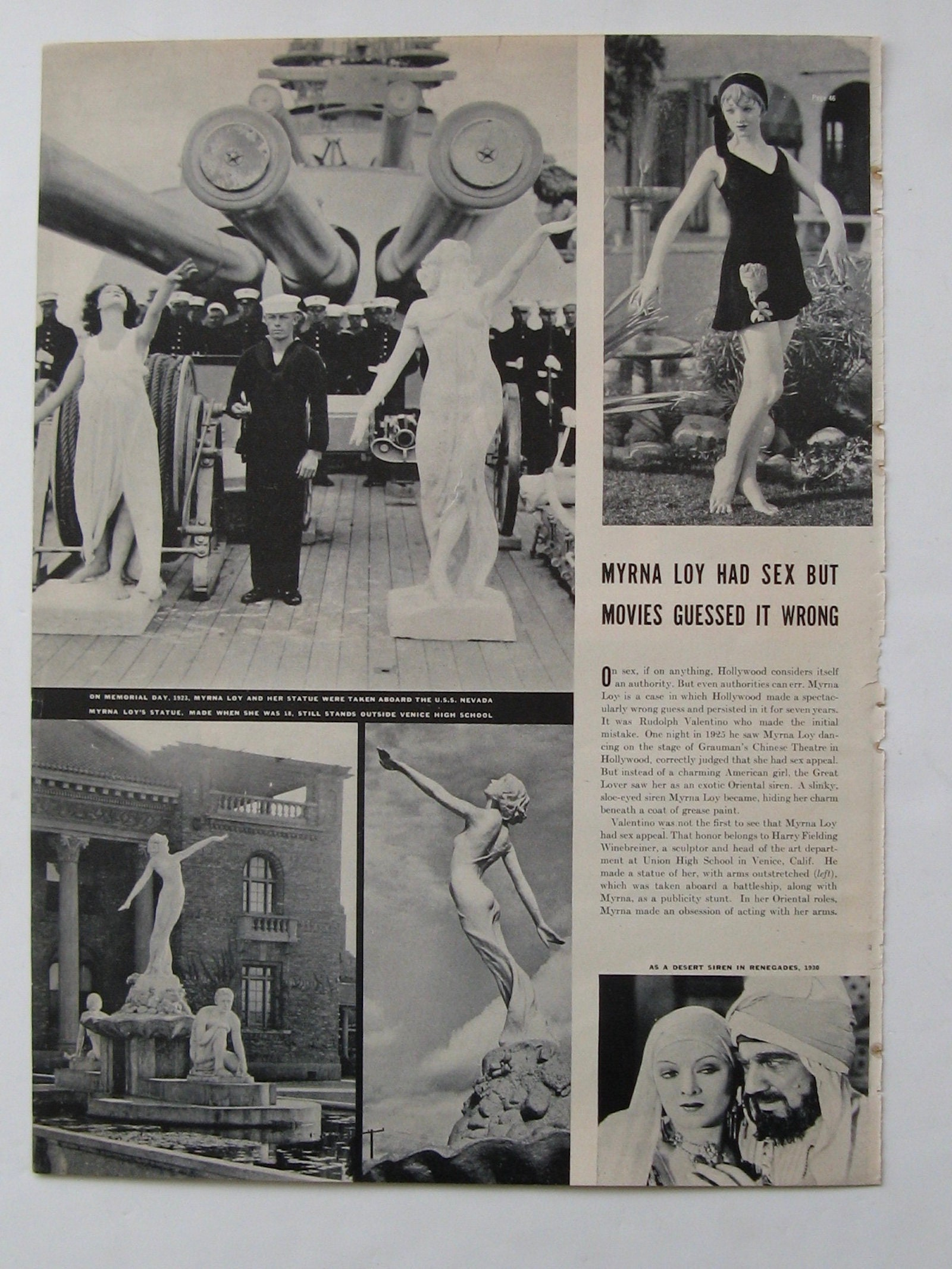 118ed35798e MYRNA LOY Vintage 1937 Magazine 5 Pages Collectible Magazine