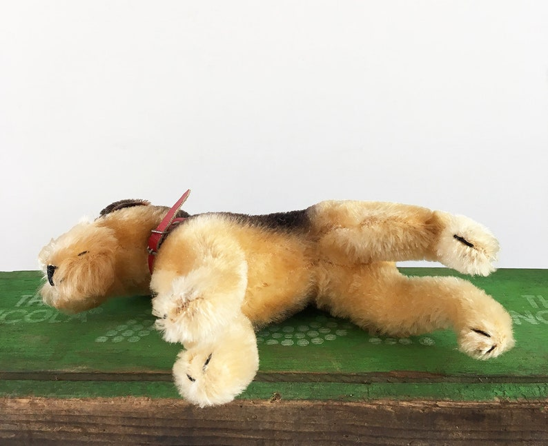 Vintage Steiff Terry collectible German toy Airedale Terrier stuffed animal with original collar dog lover gift circa 1950