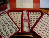 Vintage Mah Jongg Chinese Strategy Game in Black Carry Case with Red Baize Trays Made in China 144 Bamboo Backed Tiles - Unused Set