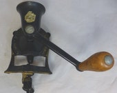 Vintage Spong Co Ltd Black and Gold Cast Iron No 1 Coffee Mill Coffee Bean Grinder Wall Table Mount - Wood Handle - Made in England