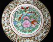 Chinese Hand-painted Enamel Decorative Display Plate with 1000 Butterflies and Pink Peonies - 10 inch D - Vintage Collectable