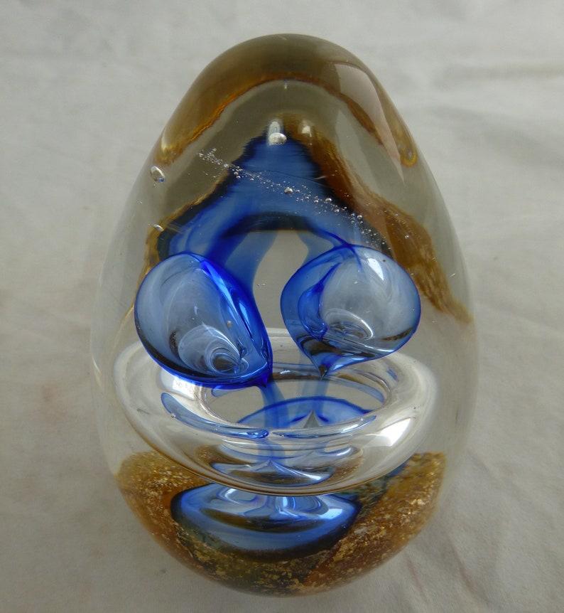 """New 5/"""" Hand Blown Art Glass Paperweight Sculpture Figurine Ball Bubble Blue"""