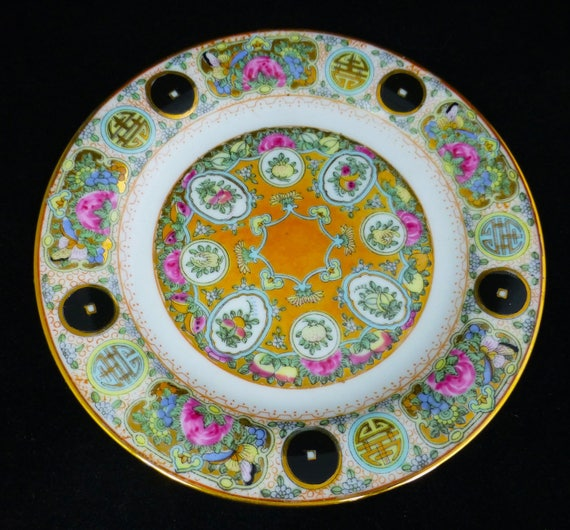 4 available Antique Chinese Porcelain Green Enameled Plate Apple Tree Blossom