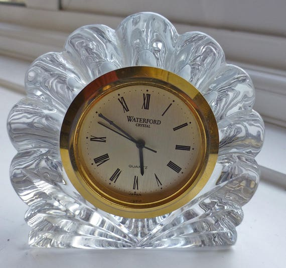 Waterford Nocturne Lead Crystal Shell Mantel Desk Clock Etsy