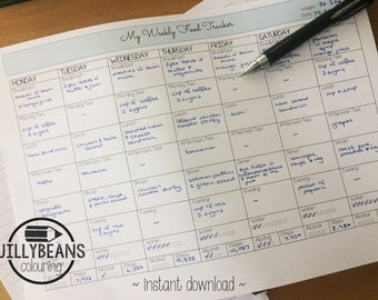 My Weekly Food Tracker Printable - Daily, Meals, Water, Alcohol, Steps Plus Weekly Weight Tracking - Diet Fitness Health Eating Weight Loss