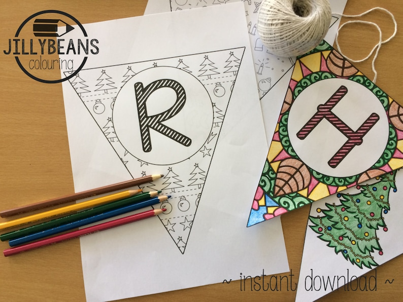 Merry Christmas Bunting Colouring Page KIT 17 Page Value ...