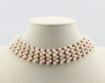 Freshwater Pearl with Red Agate S925 Choker Necklace