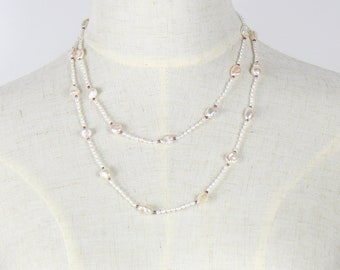 104cm Freshwater Pearl Necklace with Garnet in Sterling silver  111349