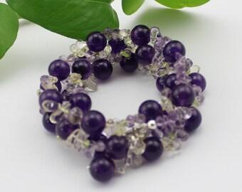 Amethyst and Crystals Sterling Sliver Necklace/Bracelet