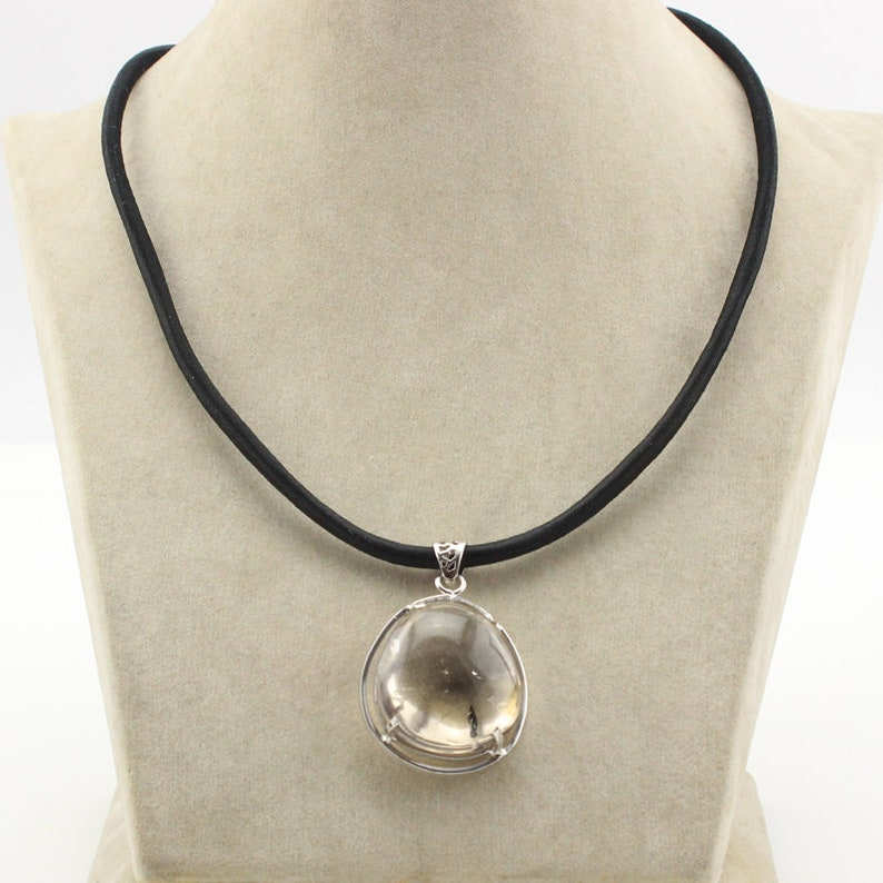 44cm Clear Crystal with Jew Copper String Necklace