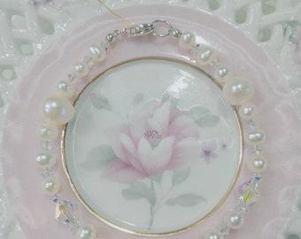 Handcrafts baby/children/girl swarovski crystal& Freshwater Pearl Bracelet in Sterling Silver