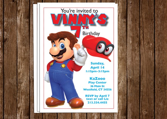 Super Mario Odyssey with Cappy invite 5x7 - personalized!