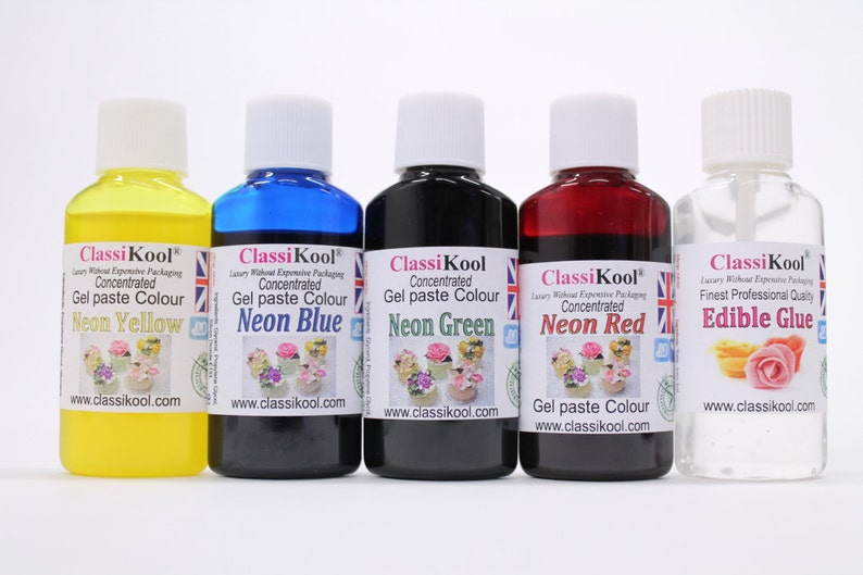 Classikool Food Colouring Sets of 4: Gel, Droplet, Neon & Pastel + Free  Edible Glue (Free UK Mainland Postage)