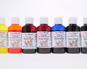 Classikool 30ml Neon Gel Food Colouring for Sugarpaste, Icing & Baking (Free UK Mainland Postage)
