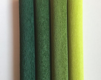 160g German heavy, floristic crepe paper (Floristenkrepp) - dark green, lime green, grass green, may green. Quality made in Germany.