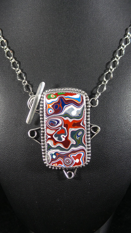 Colorful Fordite Pendant on a Silver Diamond Cut Chain