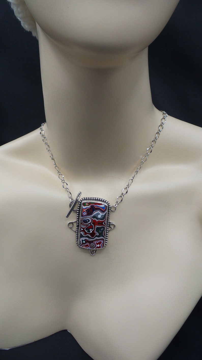 Colorful Fordite Handmade Necklace with a front toggle