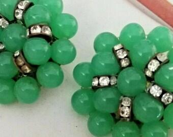 Orecchìni vintage bouquet of green pearls Giada with rhinestones