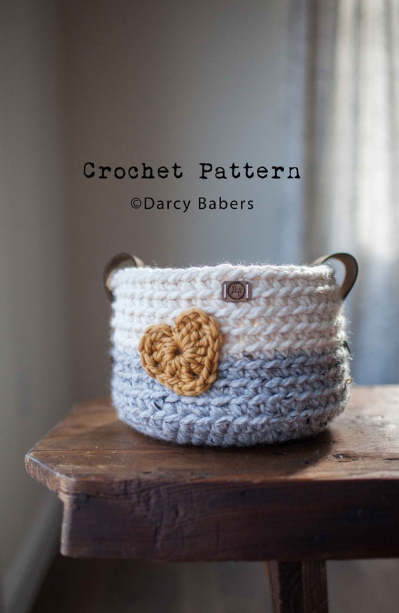 Crochet Pattern Heart Basket With Leather Handles Etsy