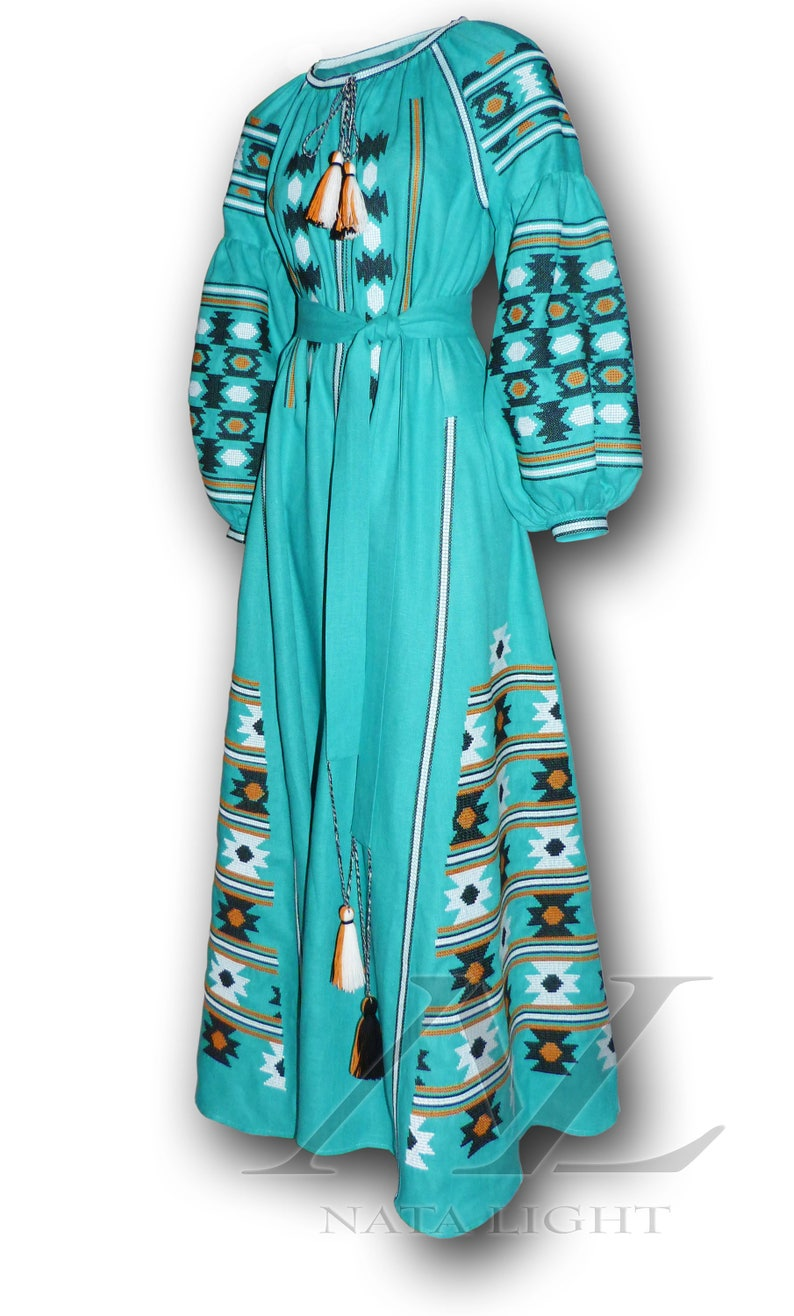 5fd1b45e0a0 Maxi dress turquoise color Mexican dress Style Embroidered