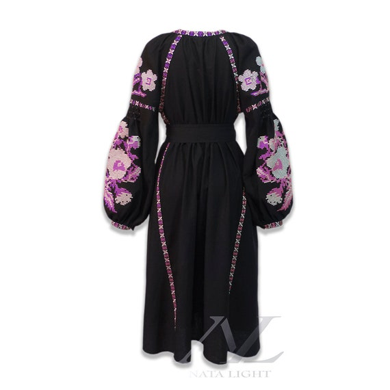 silver style vyshyvanka long maxi sleeve gown pattern embroidery dress fuchsia flowers dress kaftan lush black summer boho pink and tw7rqtO