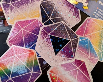 Holographic Geometric D20 Pride Flag Stickers