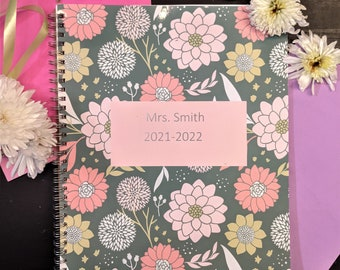 Floral Teacher Planner with Stickers, Student Information - Customizable - Hand Made - Personalized