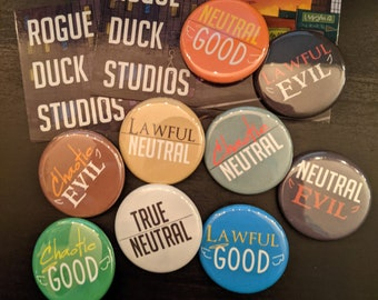 """D&D Alignment Buttons - 1.25"""" Chaotic, Neutral, Lawful"""