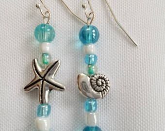 Mismatched Beachy Starfish and Shell Earrings
