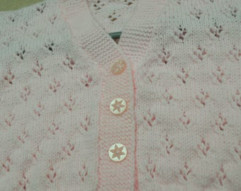 Light pink pattern knit cardigan